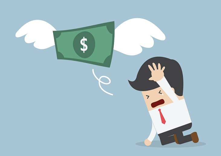 34479497 - money is flying away from sadness businessman, vector, eps10